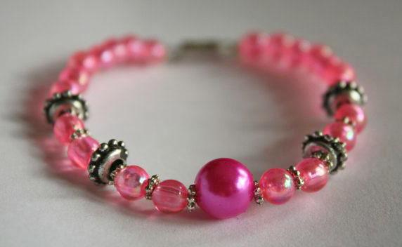 Kinder sieraden : Armbandje Roze met metalen schakels 3